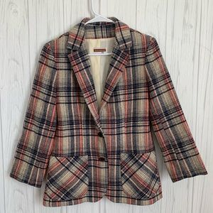 Jack Winter Vintage 100% Wool Plaid Blazer